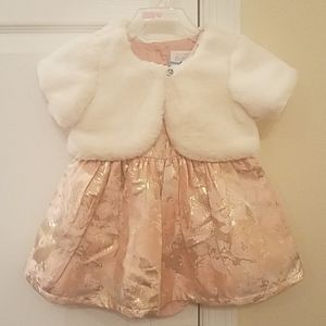 Baby girl's  holiday dress with shrug and bloomets